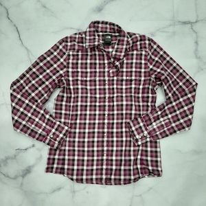 The North Face Purple Plaid Button Up Shirt